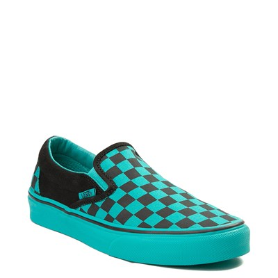 Alternate view of Vans Slip On Checkerboard Skate Shoe - Aqua / Black
