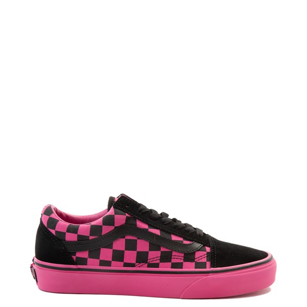 Default view of Vans Old Skool Checkerboard Skate Shoe - Pink / Black