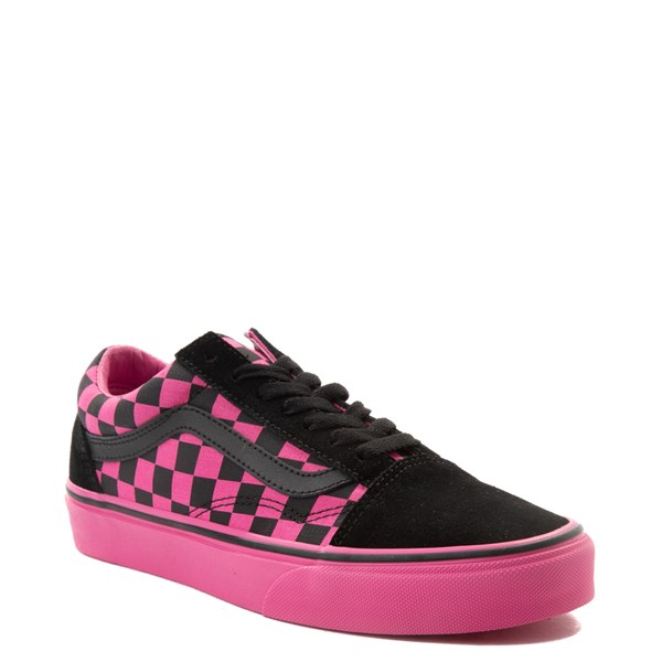 alternate view Vans Old Skool Checkerboard Skate Shoe - Pink / BlackALT1