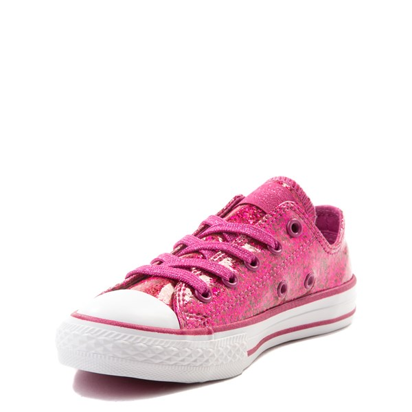 alternate view Converse Chuck Taylor All Star Lo Glitter Sneaker - Little Kid - FuchsiaALT3