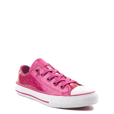 Alternate view of Converse Chuck Taylor All Star Lo Glitter Sneaker - Little Kid - Fuchsia
