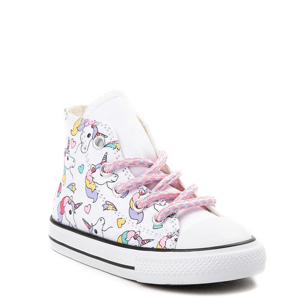 alternate view Converse Chuck Taylor All Star Hi Unicorn Rainbow Sneaker - Baby / Toddler - White / MultiALT6