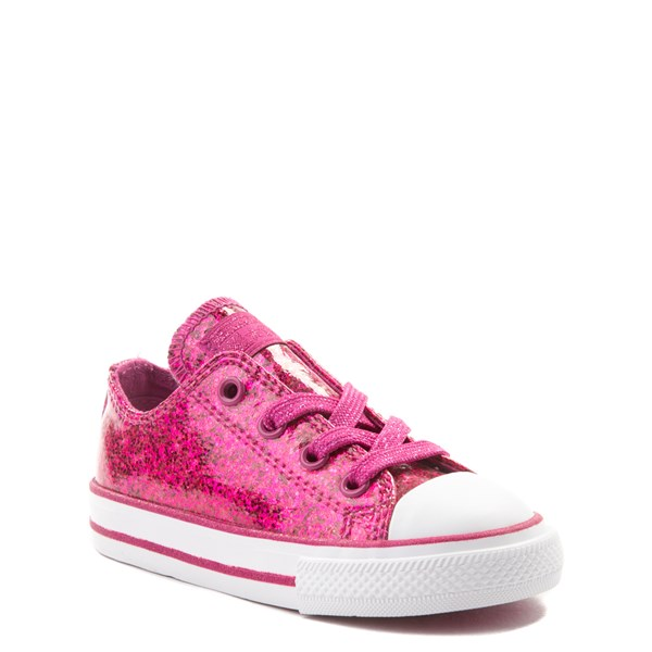 alternate view Converse Chuck Taylor All Star Lo Glitter Sneaker - Baby / Toddler - FuchsiaALT1