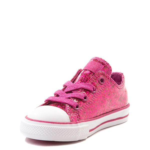 alternate view Converse Chuck Taylor All Star Lo Glitter Sneaker - Baby / Toddler - FuchsiaALT3