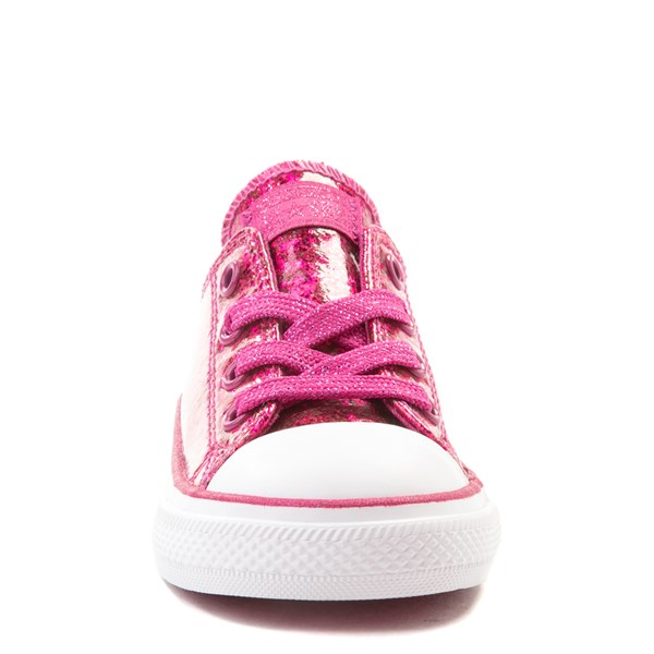 alternate view Converse Chuck Taylor All Star Lo Glitter Sneaker - Baby / Toddler - FuchsiaALT4