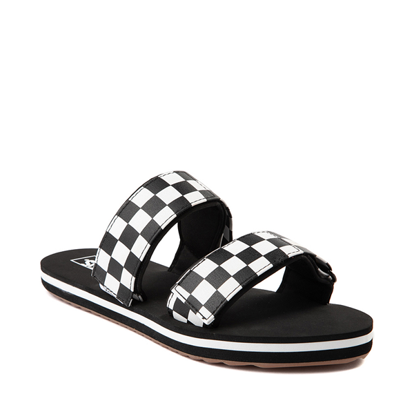 alternate view Womens Vans Cayucas Checkerboard Slide Sandal - Black / Marshmallow WhiteALT5