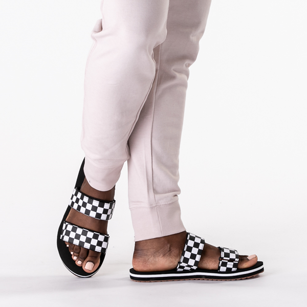 alternate view Womens Vans Cayucas Checkerboard Slide Sandal - Black / Marshmallow WhiteB-LIFESTYLE1