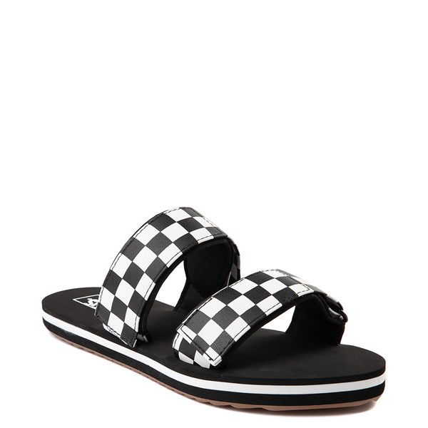 alternate view Womens Vans Cayucas Checkerboard Slide Sandal - Black / Marshmallow WhiteALT1