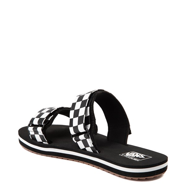 alternate view Womens Vans Cayucas Checkerboard Slide Sandal - Black / Marshmallow WhiteALT2