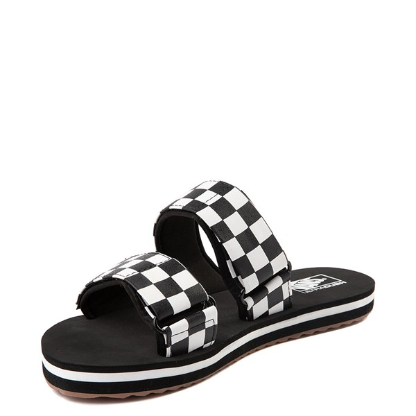 alternate view Womens Vans Cayucas Checkerboard Slide Sandal - Black / Marshmallow WhiteALT3