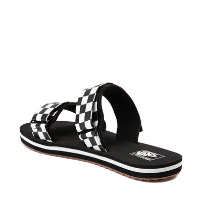 Alternate view of Womens Vans Cayucas Checkerboard Slide Sandal - Black / Marshmallow White