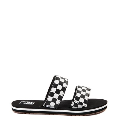 Main view of Womens Vans Cayucas Checkerboard Slide Sandal - Black / Marshmallow White