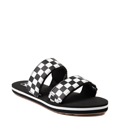 Alternate view of Womens Vans Cayucas Checkerboard Slide Sandal - Black / Marshmallow White