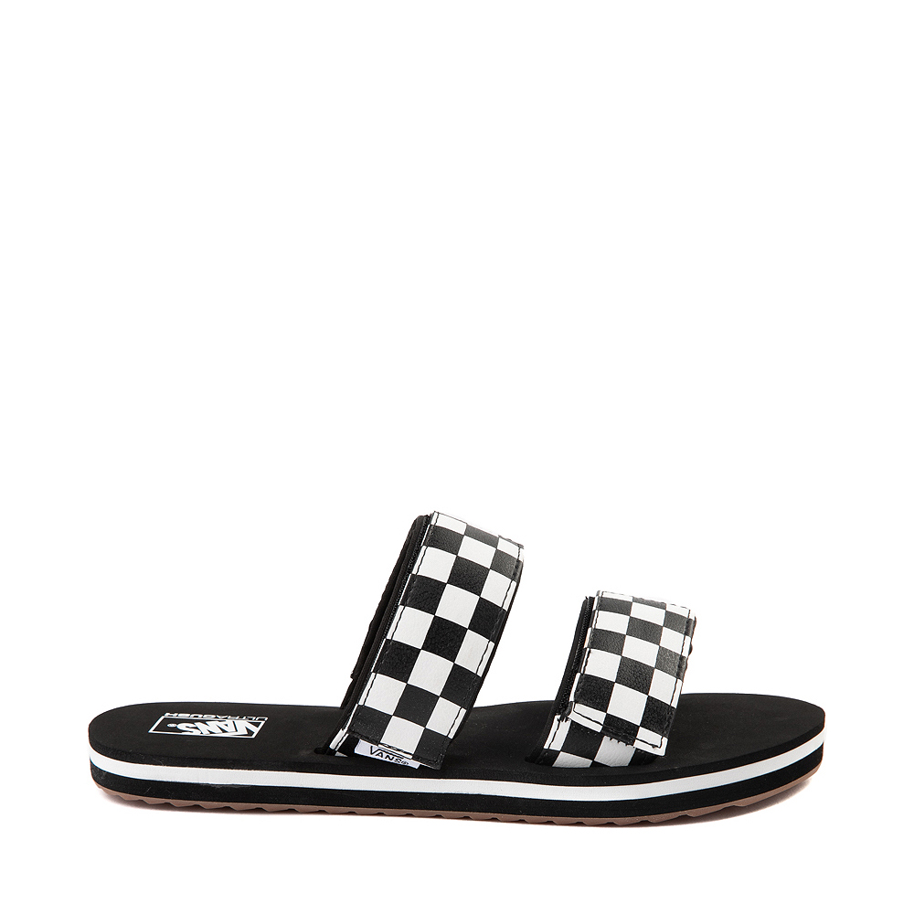 Womens Vans Cayucas Checkerboard Slide Sandal - Black / Marshmallow White