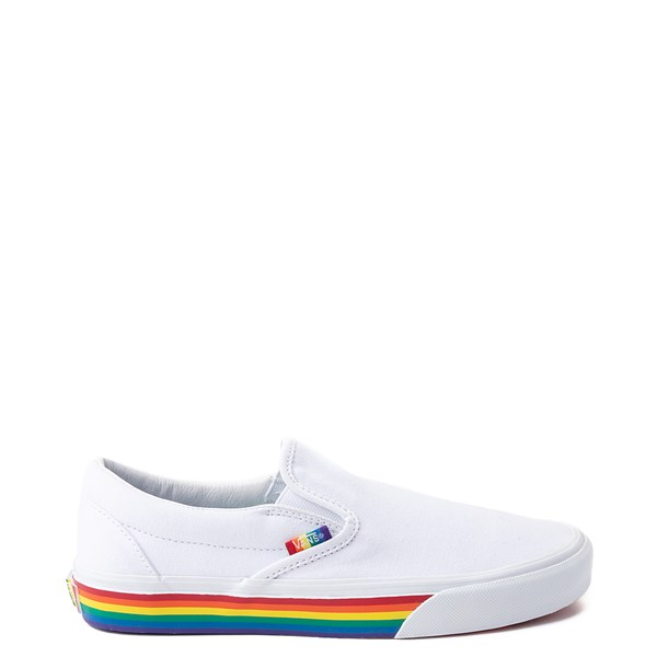 Default view of Vans Slip On Rainbow Skate Shoe - White / Multi