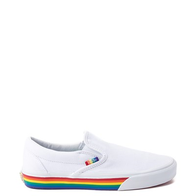 Main view of Vans Slip On Rainbow Skate Shoe - White / Multi