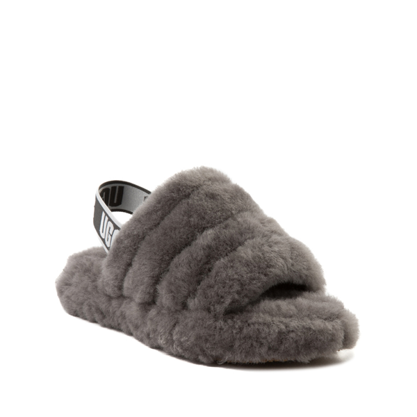 alternate view UGG® Fluff Yeah Slide Sandal - Little Kid / Big Kid - GrayALT5