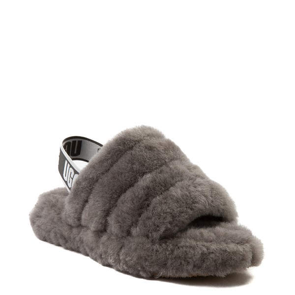 alternate view UGG® Fluff Yeah Slide Sandal - Little Kid / Big Kid - GrayALT1