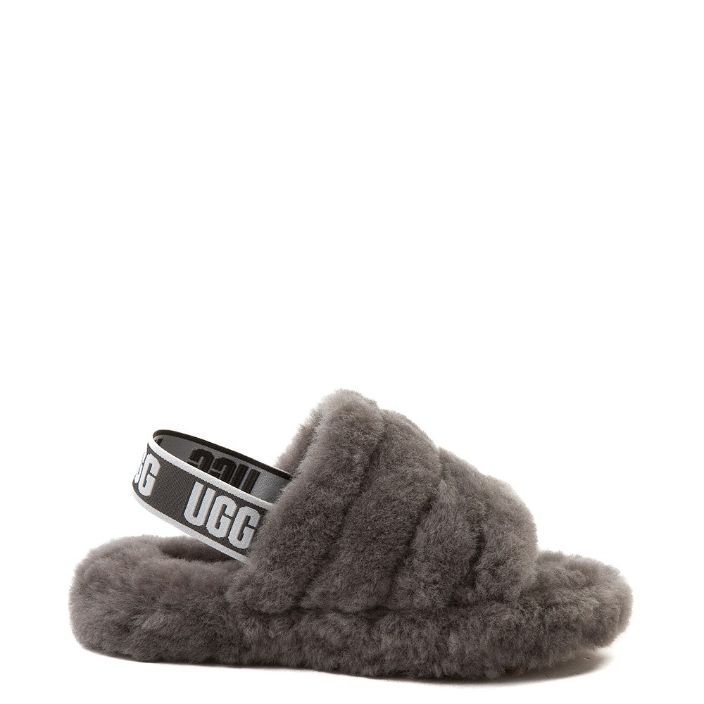 UGG® Fluff Yeah Slide Sandal - Little Kid / Big Kid - Gray
