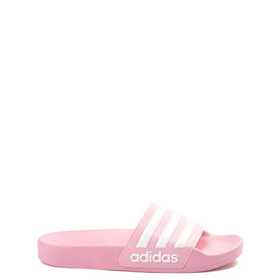 Main view of adidas Adilette Shower Slide Sandal - Little Kid / Big Kid - Pink / White