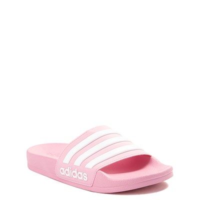 Alternate view of adidas Adilette Shower Slide Sandal - Little Kid / Big Kid - Pink / White
