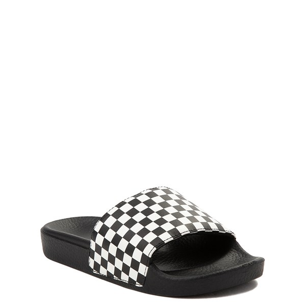 alternate view Vans Slide On Checkerboard Sandal - Little Kid / Big Kid - Black / WhiteALT1