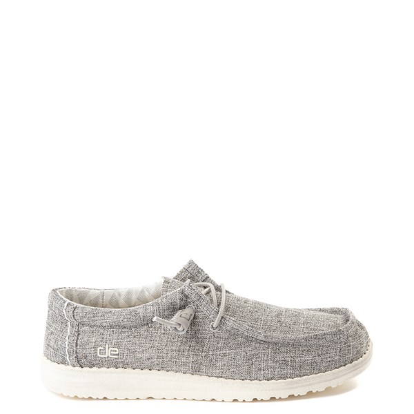 Main view of Mens Hey Dude Wally Canvas Casual Shoe - Linen Iron Gray