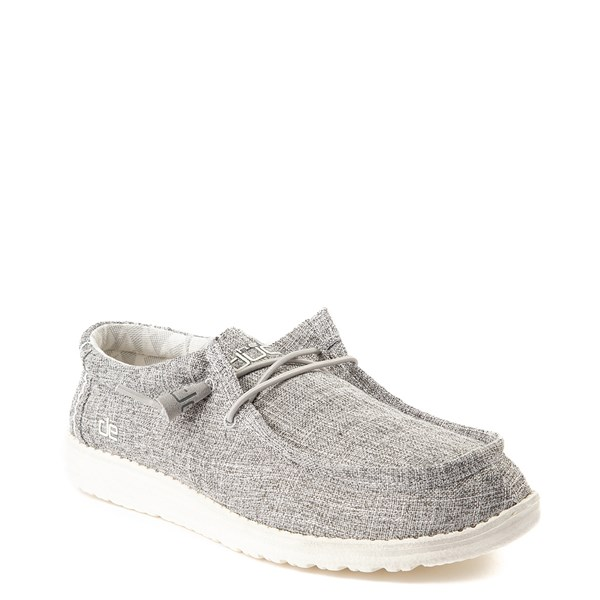 alternate view Mens Hey Dude Wally Canvas Casual Shoe - Linen Iron GrayALT1