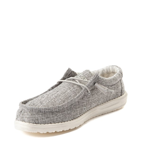 alternate view Mens Hey Dude Wally Canvas Casual Shoe - Linen Iron GrayALT3