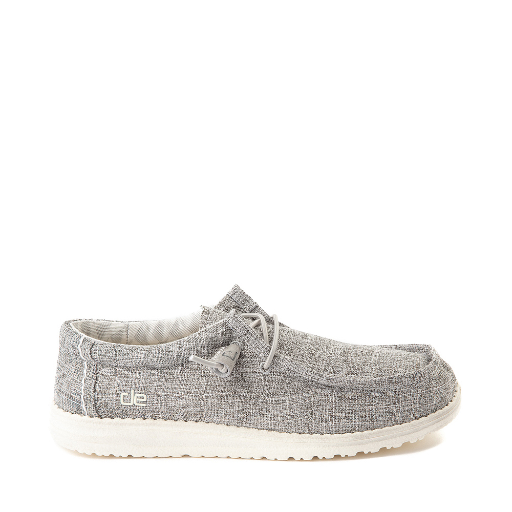 Mens Hey Dude Wally Canvas Casual Shoe - Linen Iron Gray