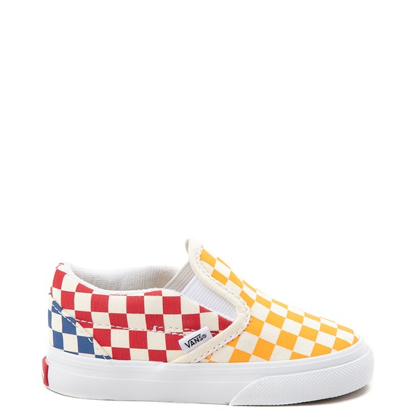 Vans Slip On Color-Block Chex Skate Shoe - Toddler