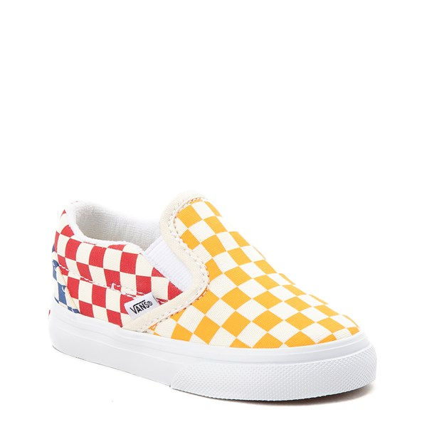 Alternate view of Vans Slip On Color-Block Chex Skate Shoe - Toddler