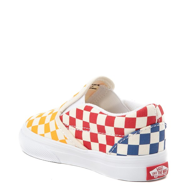 alternate view Vans Slip On Color-Block Checkerboard Skate Shoe - ToddlerALT2