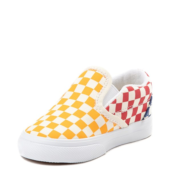 alternate view Vans Slip On Color-Block Checkerboard Skate Shoe - ToddlerALT3