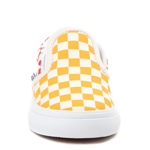 alternate view Vans Slip On Color-Block Checkerboard Skate Shoe - ToddlerALT4