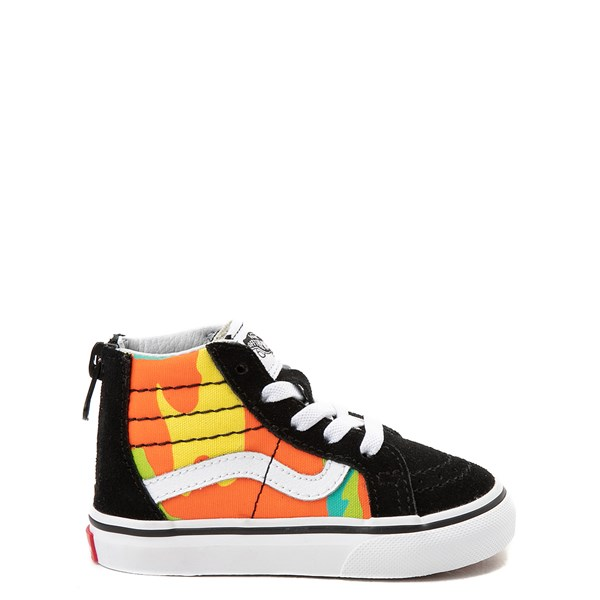 Default view of Vans Sk8 Hi Zip Pop Camo Skate Shoe - Toddler - Black / Multi
