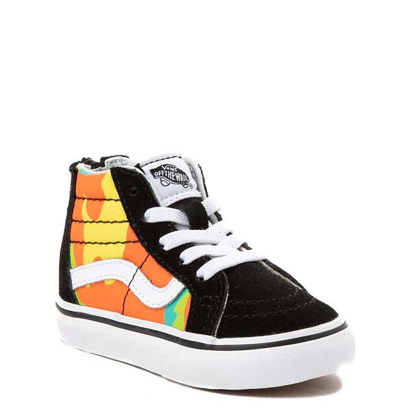 Alternate view of Vans Sk8 Hi Zip Pop Camo Skate Shoe - Toddler - Black / Multi