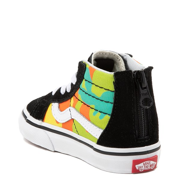 alternate view Vans Sk8 Hi Zip Pop Camo Skate Shoe - Toddler - Black / MultiALT2