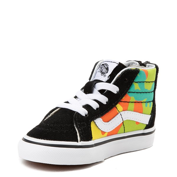 alternate view Vans Sk8 Hi Zip Pop Camo Skate Shoe - Toddler - Black / MultiALT3