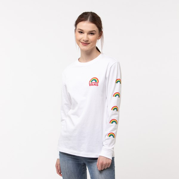 Womens Vans Rainbow Long Sleeve Boyfriend Tee - White