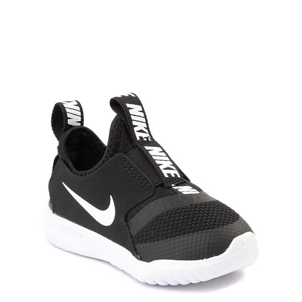 alternate view Nike Flex Runner Slip On Athletic Shoe - Baby / Toddler - Black / WhiteALT1