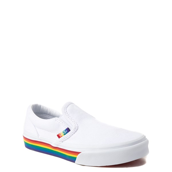 alternate view Vans Slip On Rainbow Skate Shoe - Little Kid / Big Kid - White / MultiALT1