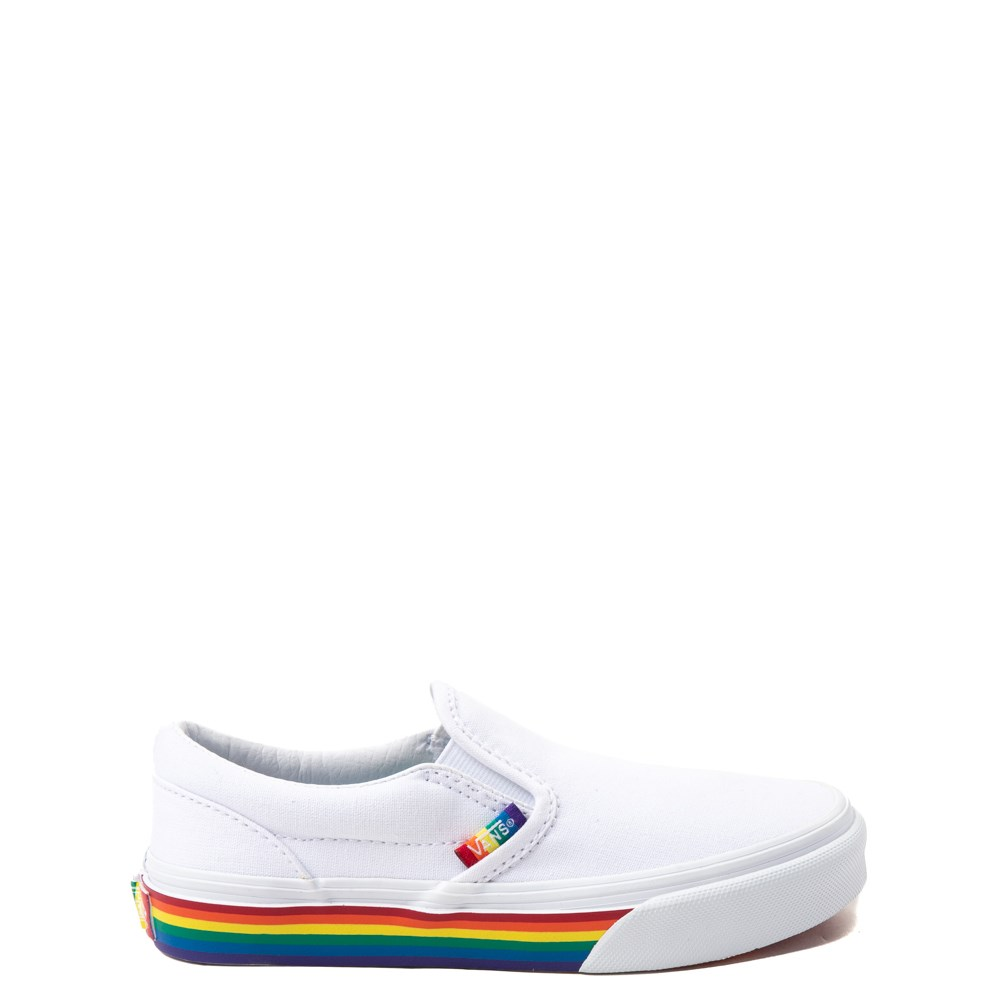 Vans Slip On Rainbow Skate Shoe - Little Kid / Big Kid - White / Multi