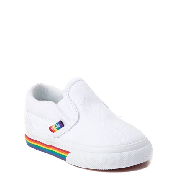 alternate view Vans Slip On Rainbow Skate Shoe - Baby / Toddler - White / MultiALT1