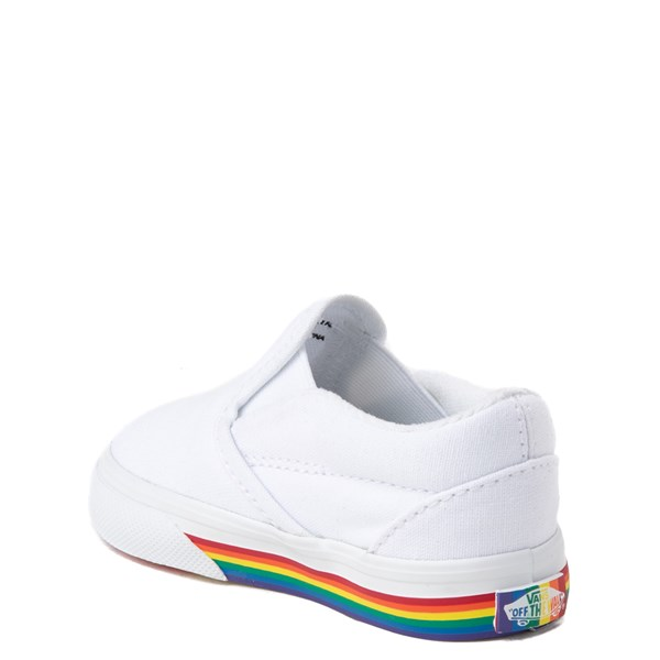 alternate view Vans Slip On Rainbow Skate Shoe - Baby / Toddler - White / MultiALT2