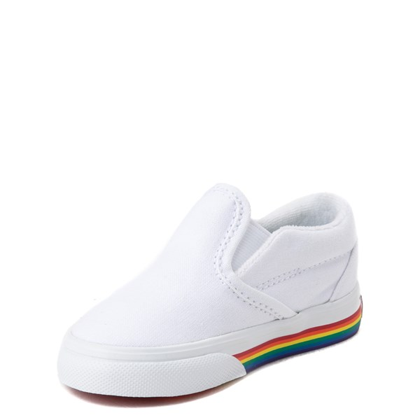 alternate view Vans Slip On Rainbow Skate Shoe - Baby / Toddler - White / MultiALT3