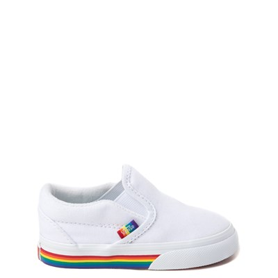 Main view of Vans Slip On Rainbow Skate Shoe - Baby / Toddler - White / Multi