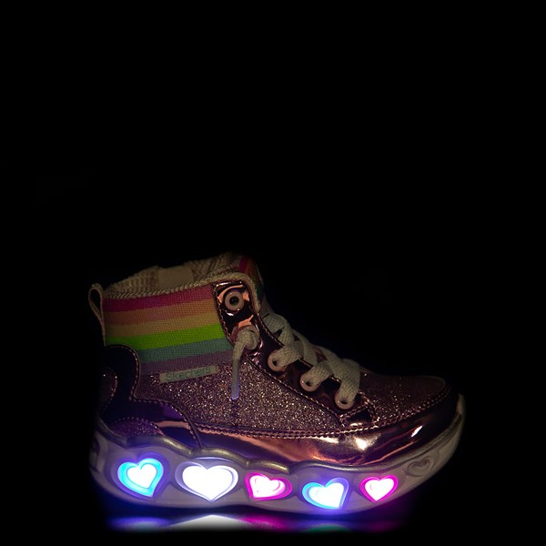 Alternate view of Skechers S Lights Hearts Hi Sneaker - Toddler