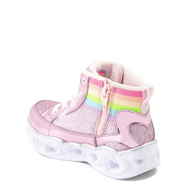 alternate view Skechers S Lights Hearts Hi Sneaker - ToddlerALT2