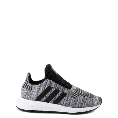 Main view of adidas Swift Run Athletic Shoe - Little Kid - Gray / Black